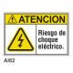Cartel riesgo de choque eléctrico