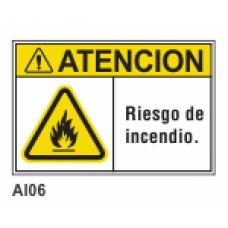 Cartel riesgo de incendio