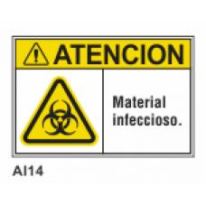Cartel material infeccioso