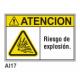Cartel riesgo de explosivo