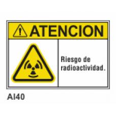 Cartel riesgo de radioactividad