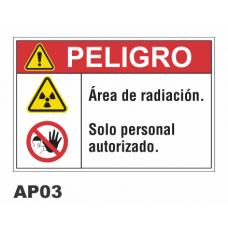Cartel área de radiación