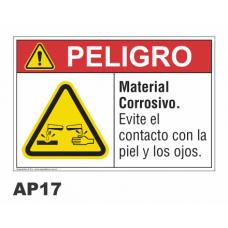 Cartel material corrosivo