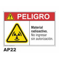 Cartel material radioactivo
