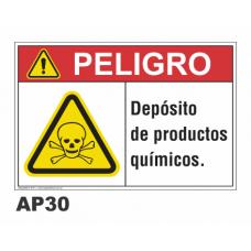 Cartel depósito productos químicos