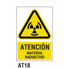 Cartel material radiactivo