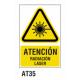 Cartel radiación láser