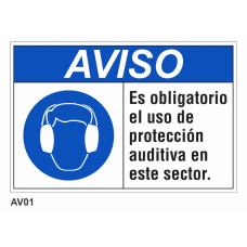 Cartel obligatorio uso de protección auditiva