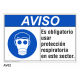 Cartel obligatorio usar protección respiratoria
