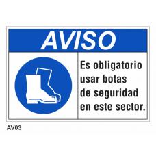 Cartel usar botas de seguridad