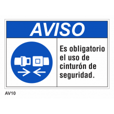 Cartel usar cinturón de seguridad