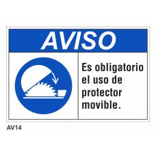 Cartel usar protector movible