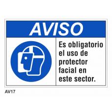 Cartel usar protector facial