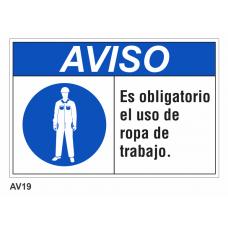 Cartel usar ropa de trabajo