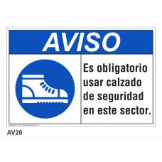 Cartel usar calzado de seguridad