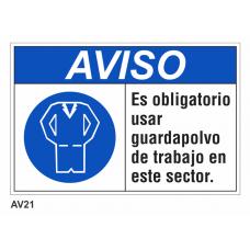 Cartel usar guardapolvo de trabajo