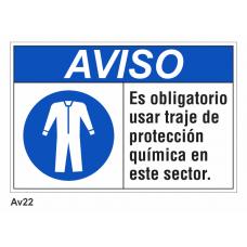 Cartel usar traje de protección