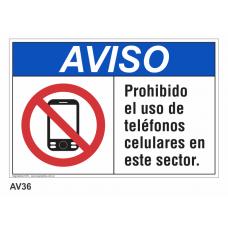 Cartel prohibido el uso de teléfonos