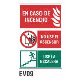 Cartel en caso de incendio