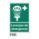Cartel lava ojos de emergencia