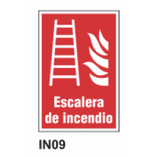 Cartel escalera de incendio