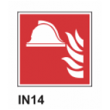 Cartel casco de incendio