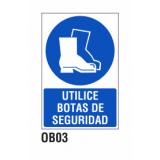 Cartel utilice botas de seguridad