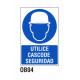 Cartel utilice casco seguridad