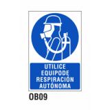 Cartel utilice equipo respiración autónoma