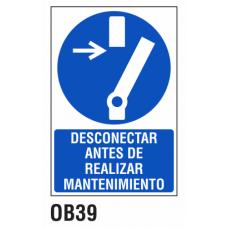 Cartel desconectar antes de realizar mantenimiento