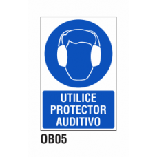 Cartel utilice protector auditivo
