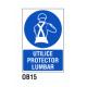 Cartel utilice protector lumbar