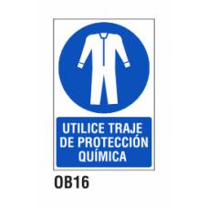 Cartel utilice traje de protección química