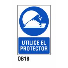 Cartel utilice el protector