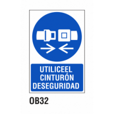 Cartel utilice cinturón seguridad