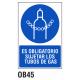 Cartel sujetar los tubos de gas