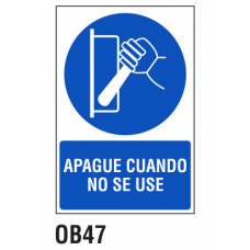 Cartel apague cuando no se use