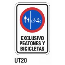 Cartel exclusivo peatones y bicicletas