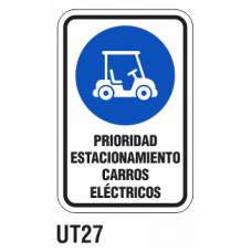 Cartel prioridad carros eléctricos