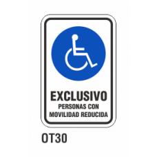 Cartel exclusivo personas movilidad reducida