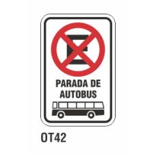 Cartel parada de autobús