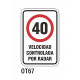 Cartel velocidad controlada por radar