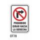 Cartel prohibido girar hacia la derecha
