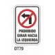 Cartel prohibido girar hacia la izquierda