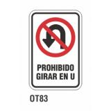 Cartel prohibido girar en U