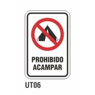 Cartel prohibido acampar