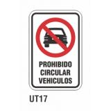 Cartel prohibido circular vehículos