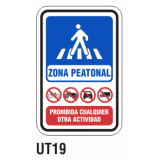 Cartel zona peatonal
