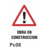 Cartel obra en construcción