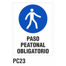 Cartel paso peatonal obligatorio